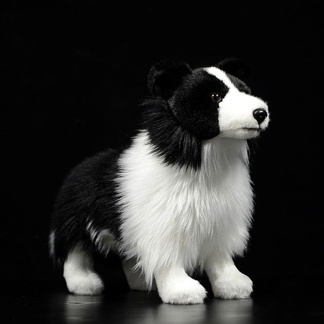 Lifelike Standing Border Collie Soft Plush Toy