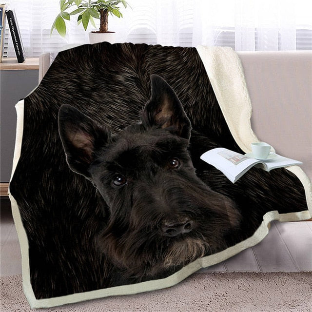 Scottish Terrier Love Soft Warm Fleece Blanket - Series 4