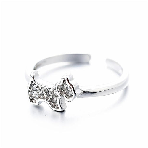 Studded West Highland Terrier Love Silver Ring