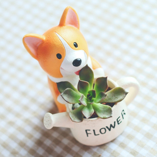 Corgi on Belly with Leaf Design Love Succulent Plants Flower Pot