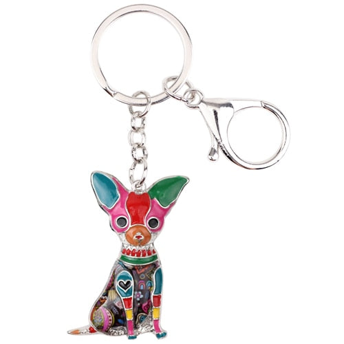 Beautiful Chihuahua Love Enamel Keychains