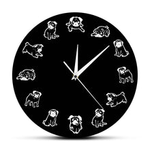 Load image into Gallery viewer, Black and White Pug Love Wall Clock
