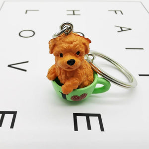 Cutest Resin Figurine Toy Poodle Keychain
