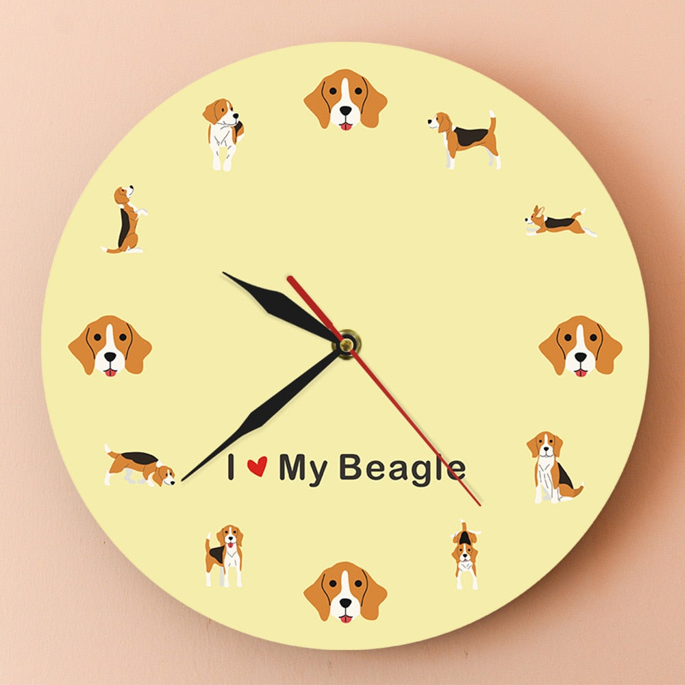 I Love My Beagle Wall Clock