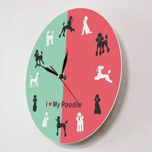 I Love My Poodle Wall Clock