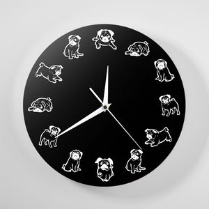 Black and White Pug Love Wall Clock
