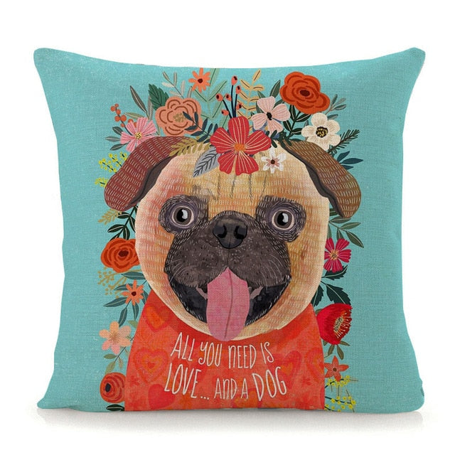 Flower Tiara Pug Cushion Cover - Series 1