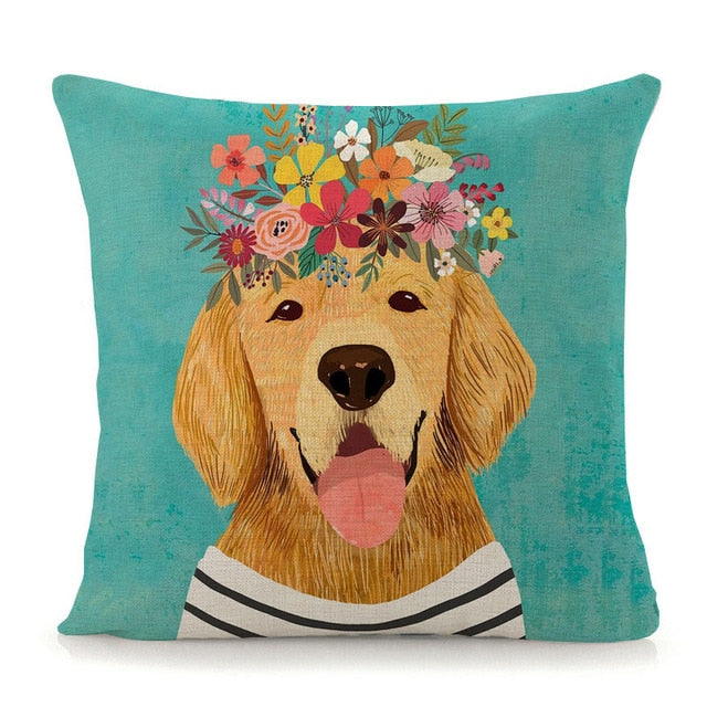 Flower Tiara Golden Retriever Cushion Cover - Series 1