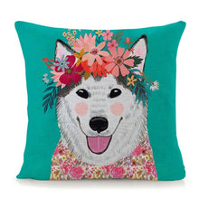 Load image into Gallery viewer, Flower Tiara Golden Retriever Cushion Cover - Series 1