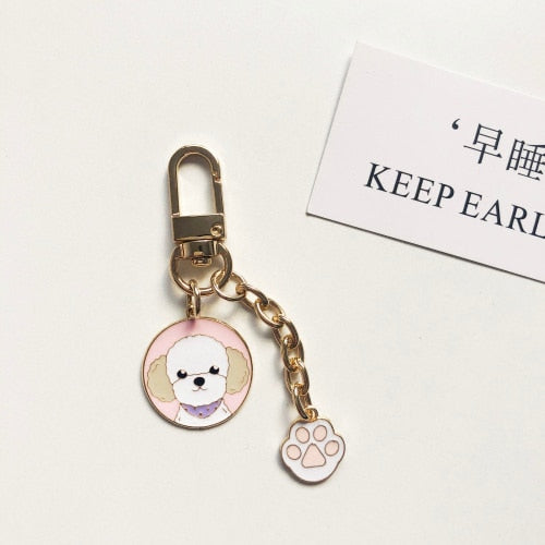 Cutest Metal Keychain for Bichon Frise Lovers