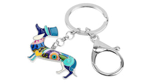 Beautiful Top Hat Dachshund Love Enamel Keychains