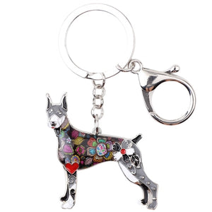 Beautiful Doberman Love Enamel Keychains