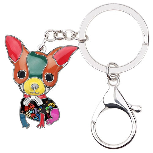 Beautiful Sitting Chihuahua Puppy Love Enamel Keychains