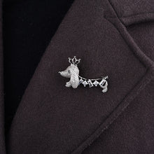 Load image into Gallery viewer, Dachshund Love White Gold Plated Brooch Pin