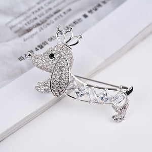 Dachshund Love White Gold Plated Brooch Pin