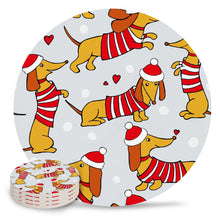 Load image into Gallery viewer, Christmas Dachshund Love Ceramic Coasters