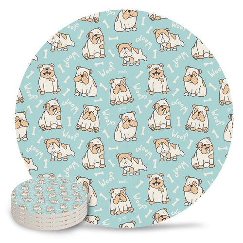 I Woof English Bulldogs Ceramic Coasters