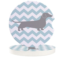 Load image into Gallery viewer, Blue and White Stripes Dachshund Love Car Coasters