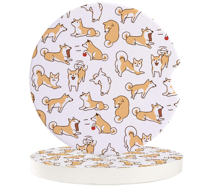 Adorable Pastel Love Shiba Inu Ceramic Car Coasters