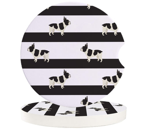 Black and White Stripes French Bulldog Ceramic Car Coasters
