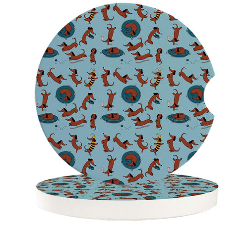 Playtime Dachshunds Love Ceramic Car Coasters