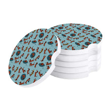 Load image into Gallery viewer, Playtime Dachshunds Love Ceramic Car Coasters