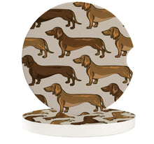 Load image into Gallery viewer, Chocolate and Tan Dachshund Love Ceramic Car Coasters