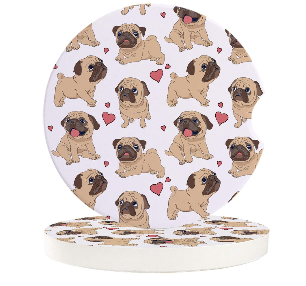 Infinite Pugs with Hearts Small Ceramic Car Coasters