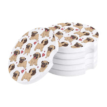 Load image into Gallery viewer, Infinite Pugs with Hearts Small Ceramic Car Coasters