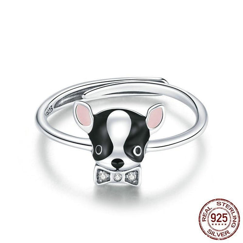 Bow Tie Boston Terrier Love Silver Ring