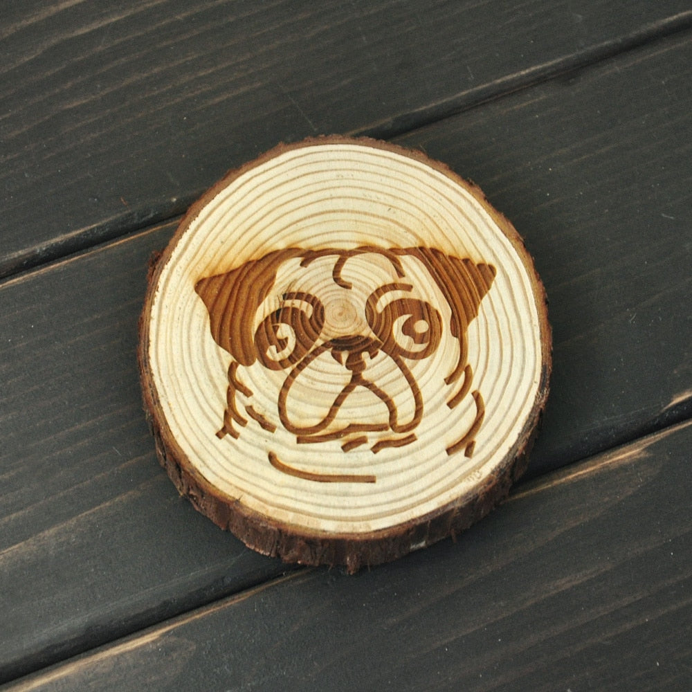Pug Love Engraved Wooden Coaster