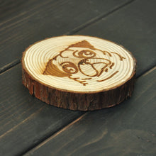 Load image into Gallery viewer, Pug Love Engraved Wooden Coaster
