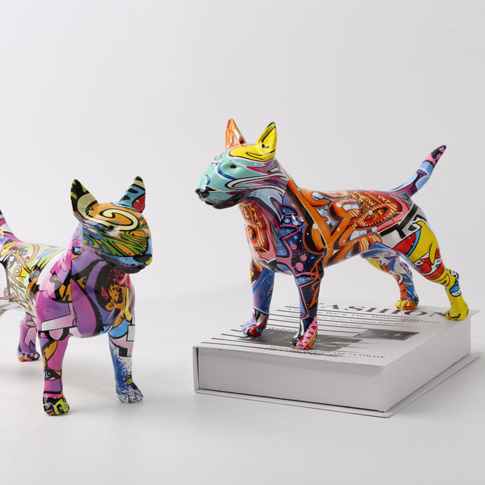 Stunning Bull Terrier Design Multicolor Resin Statue
