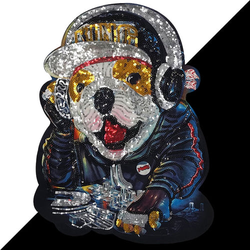 DJ Bulldog Embroidered and Sequinned Sew-on Patch