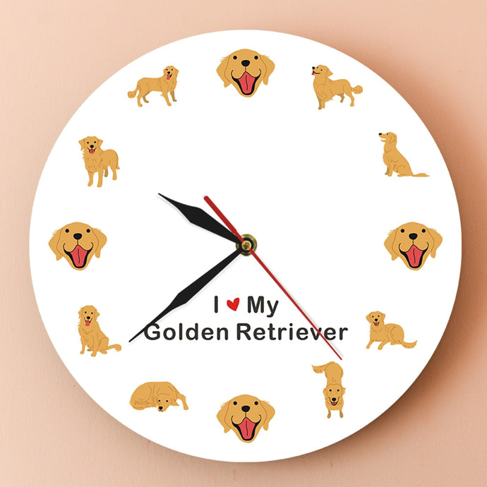 I Love My Golden Retriever Wall Clock