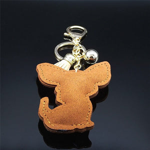 Blingy Chihuahua Stone-Studded Keychains