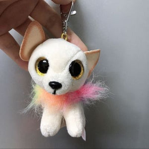 White Chihuahua Love Soft Plush Keychain