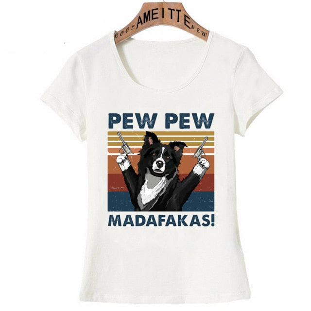 Pew Pew Border Collie Womens T Shirt - Series 1
