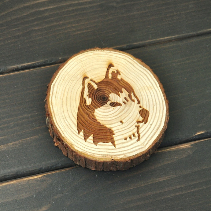 Siberian Husky Love Engraved Wooden Coaster