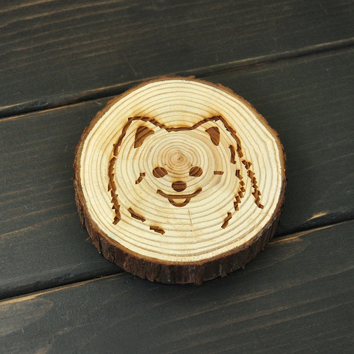 Pomeranian Love Engraved Wooden Coaster