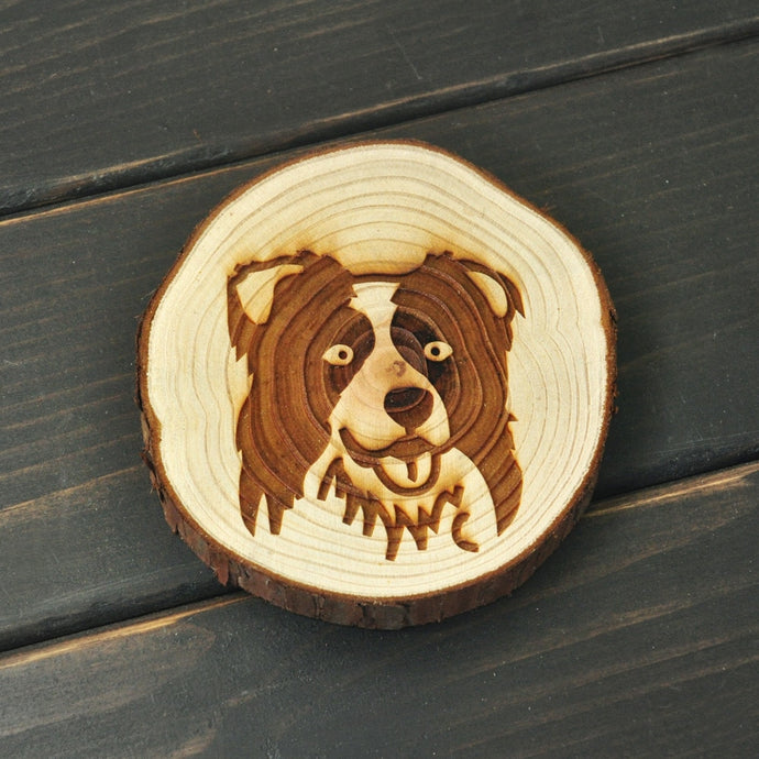 Border Collie Love Engraved Wooded Coaster