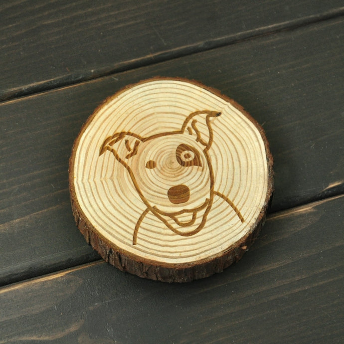 Bull Terrier Love Engraved Wooden Coaster
