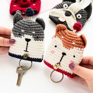 Doggo Love Knitted Coin Purses and Keychains