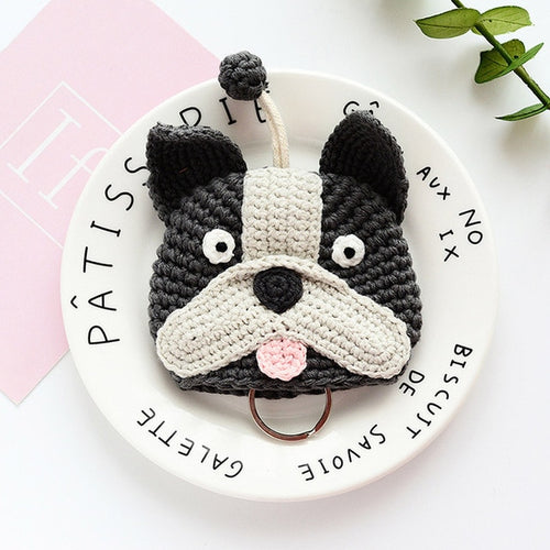 Boston Terrier Love Knitted Coin Purse and Keychain