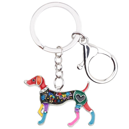 Beautiful Whippet Love Enamel Keychains