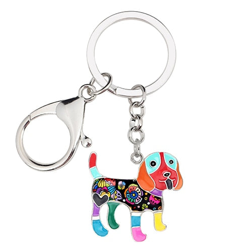 Beautiful Beagle Love Enamel Keychains