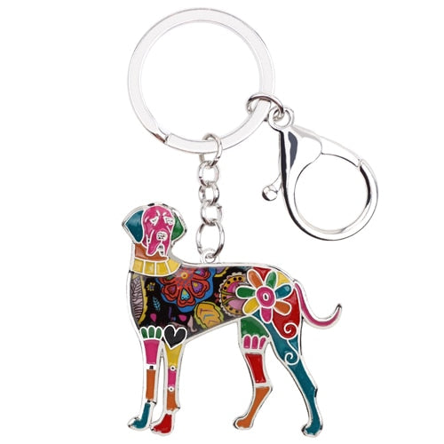 Beautiful Great Dane Love Enamel Keychains