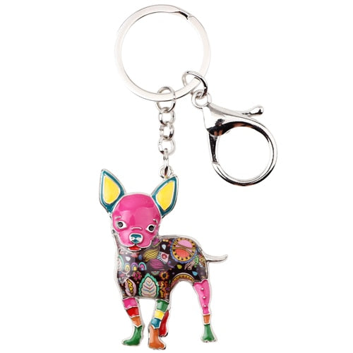 Beautiful Standing Chihuahua Love Enamel Keychains