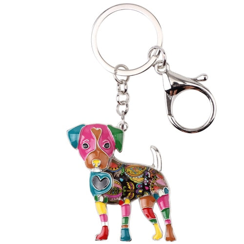 Beautiful Jack Russell Terrier Love Enamel Keychains