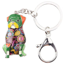 Load image into Gallery viewer, Beautiful Sitting Pug Love Enamel Keychains